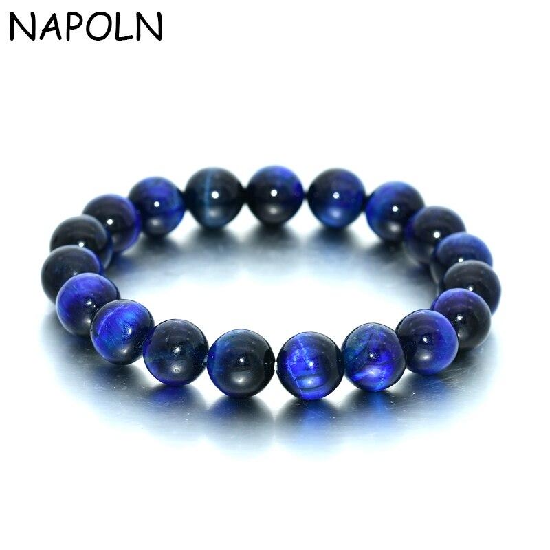 Женский и мужской браслет NAPOLN, браслет из натурального камня с синим тигровым глазом, 8 мм