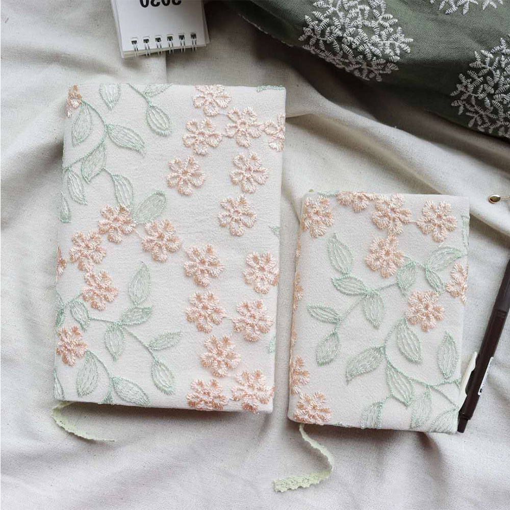 Floral Embroidery Notebook Handmade Cloth Bookcase Girl Notepad a5a6 Sketchbooks for Drawing Personal Diary Office Accessories