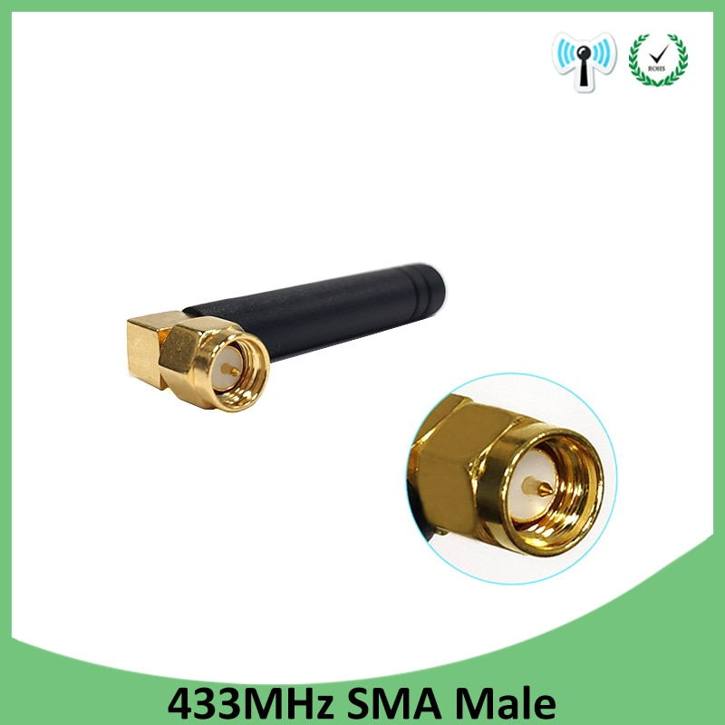 20pcs 433MHz Antenna 2.5dbi SMA Male Connector 433 MHz antena Small size elbow rubber antenne Wireless Receiver for Lorawan