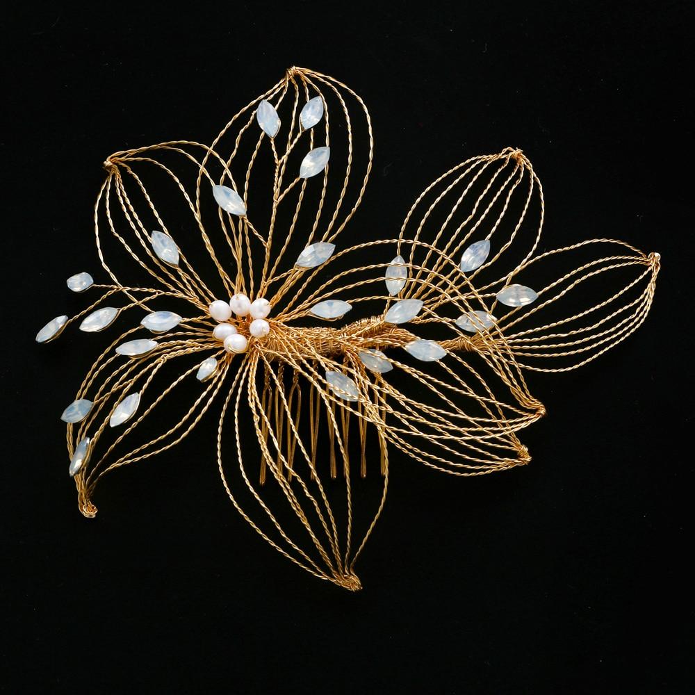 AMORARSI HP257 زهرة مقلد بيرل الزفاف أغطية الرأس حجر الراين الزفاف إكسسوارات الشعر Noiva المشاركة الديكور مجوهرات