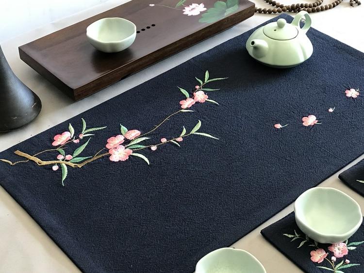 القطن و الكتان اليدوية زن التطريز الشاي حصيرة حفل الشاي الصيني رسمت باليد الكونغ فو الكتان الشاي حصيرة الشاي الستار