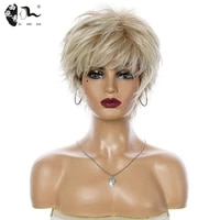xishixiuhair mix brown blonde pixie cut ombre womens wig shaggy layered natural short straight synthetic hair female haircut