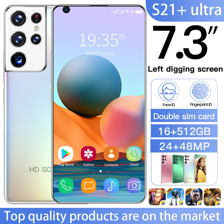 Cectdigi S21+ Smart Phone 7.3 Inch Android 10.0 Smartphone 16GB RAM 512GB ROM Dual Sim Unlocked Mobile Phone S21+ Ultra MTK 6799