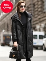 2020 winter casual fashion sheepskin large size loose coat hooded leather down jacket womens mid length