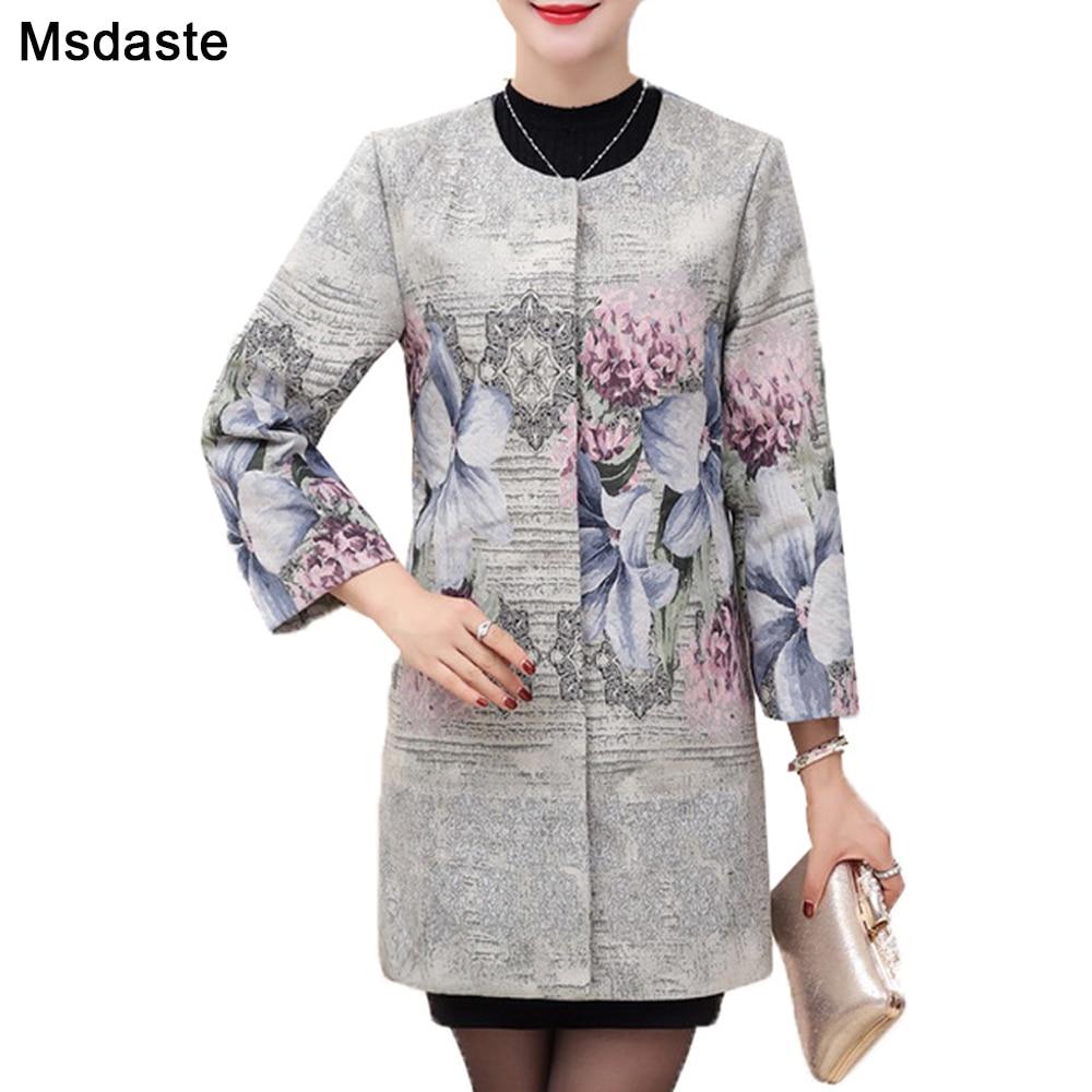 Grande taille automne hiver femmes manteaux élégant Trench dame manteau Floral vêtements dextérieur vintage Casaco Feminino rose gris 4XL femme manteau