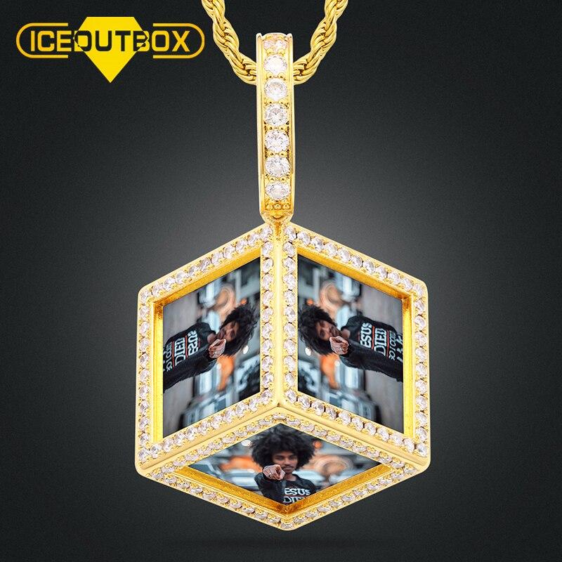 Collar con colgante de medallones con diseño personalizado en forma de cubo para mujeres y hombres, joyería de Hip Hop personalizada con 6 fotos colgantes