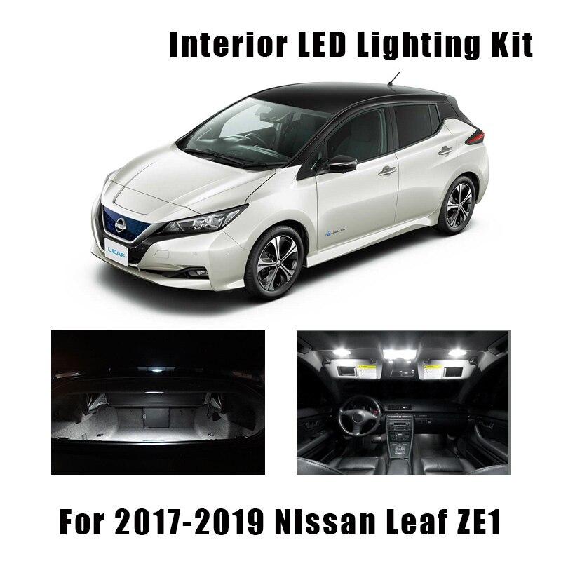 8 stücke Weiß Canbus Fehlerlose LED Birne Innen Karte Dome Dach Licht Kit Für 2017 2018 2019 Nissan Blatt ZE1 Zubehör Auto Lampe