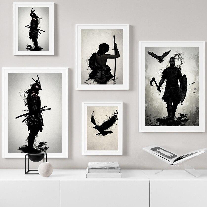 Blindado guerreiro samurai japonês arte da parede do vintage pintura da lona nordic cartazes e impressões fotos de parede para sala estar decoração
