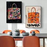 Sac de peinture sur toile avec Graffiti moderne  affiches dart abstraites et imprimes  images dart murales pour decoration de salon