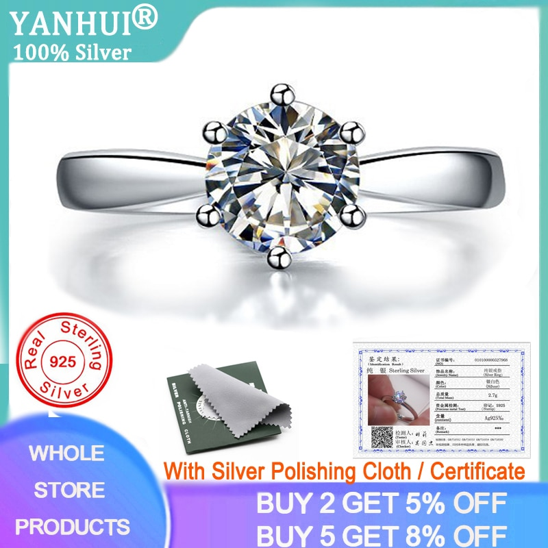 90% OFF! With Certificate 100% Authentic 925 Solid Silver Wedding Rings Solitaire 1 Carat Lab Diamond Engagement Rings for Women 95% off with certificate luxury solitaire 2 0ct zirconia diamond ring 925 solid silver 18k white gold wedding rings for women