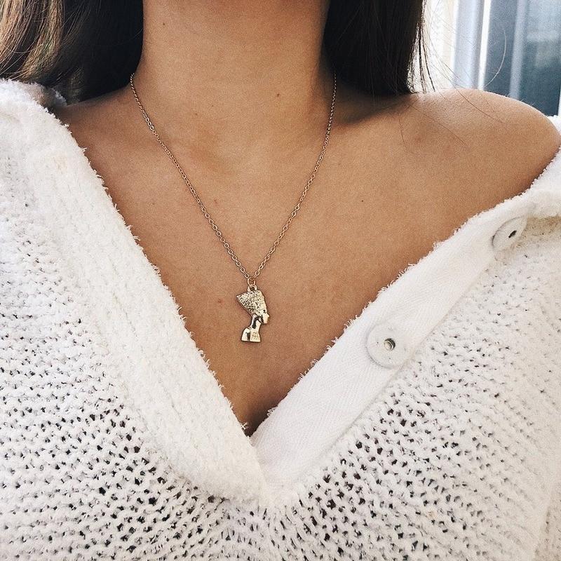 Collar de retrato para mujer, colgante de Faraón Egipcio, collar de cadena larga, accesorios de joyería para mujeres Harajuku, Collares Kpop