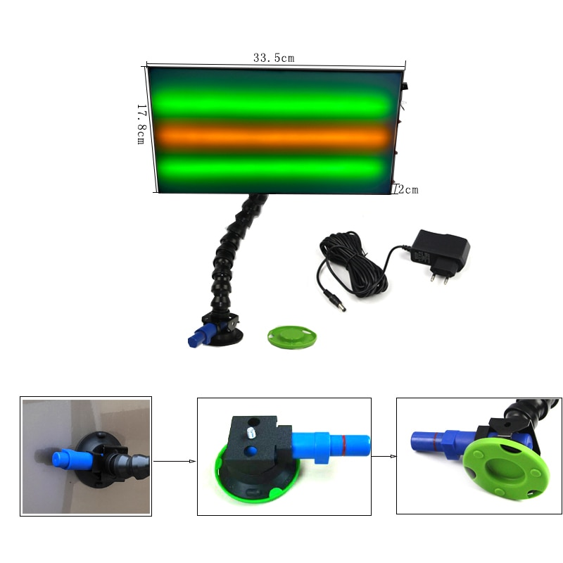 3 pins adjustable car dent repair light with 75mm pump suction cups with high quality light stand with adjustable lock line pipe