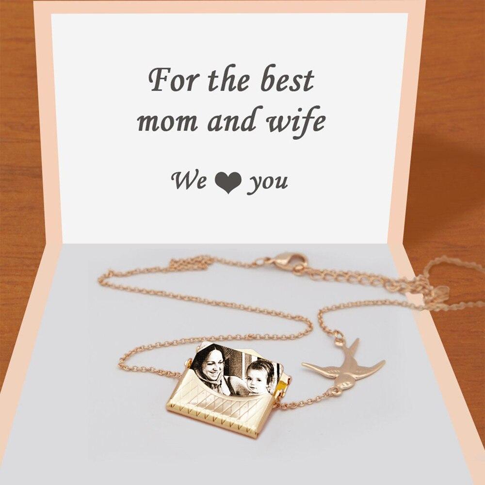 Mylongingcharm colar de pingente de envelope, gravura gratuita-personalizada sua mensagem e foto-presente personalizado para meninas