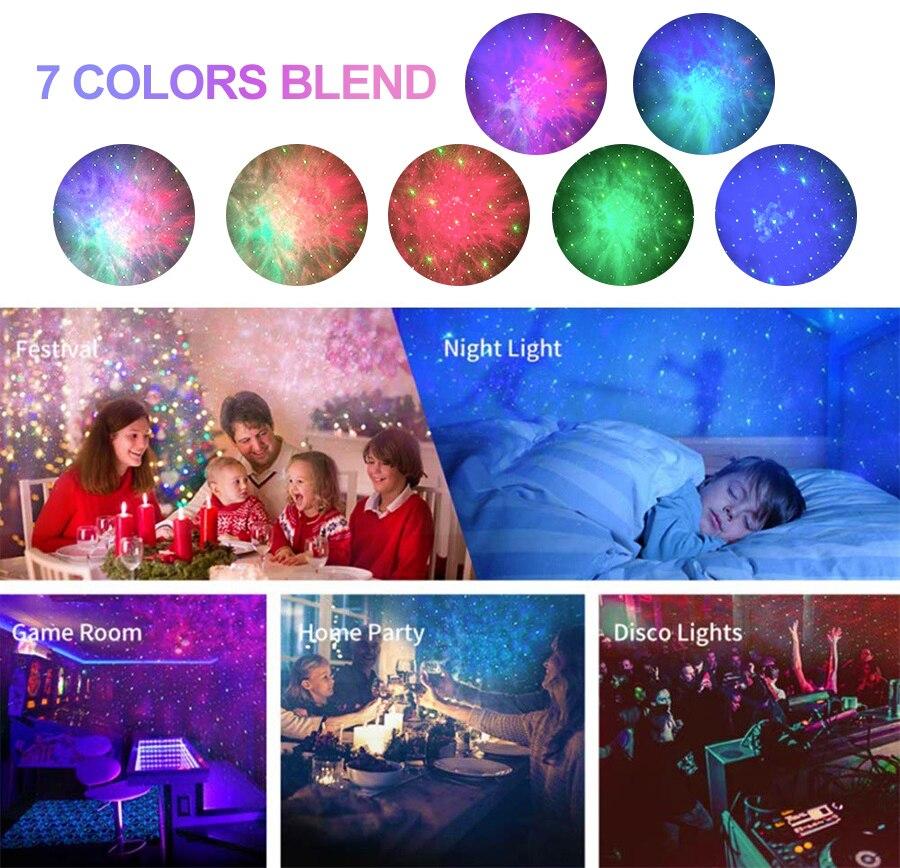 Smart Galaxy Laser Starry Sky Night Light Led Wave Projection Lamp Phone APP Control Laser Projector Star Room Lights Decoration enlarge