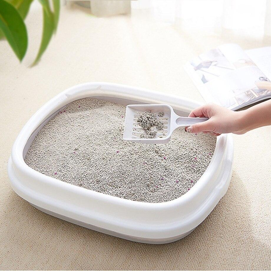 Cacerola de baño para mascotas, caja de arena antisalpicaduras para gatos, bandeja para perros con cuchara para gatos, limpieza para perros, caja de arena de plástico para el hogar