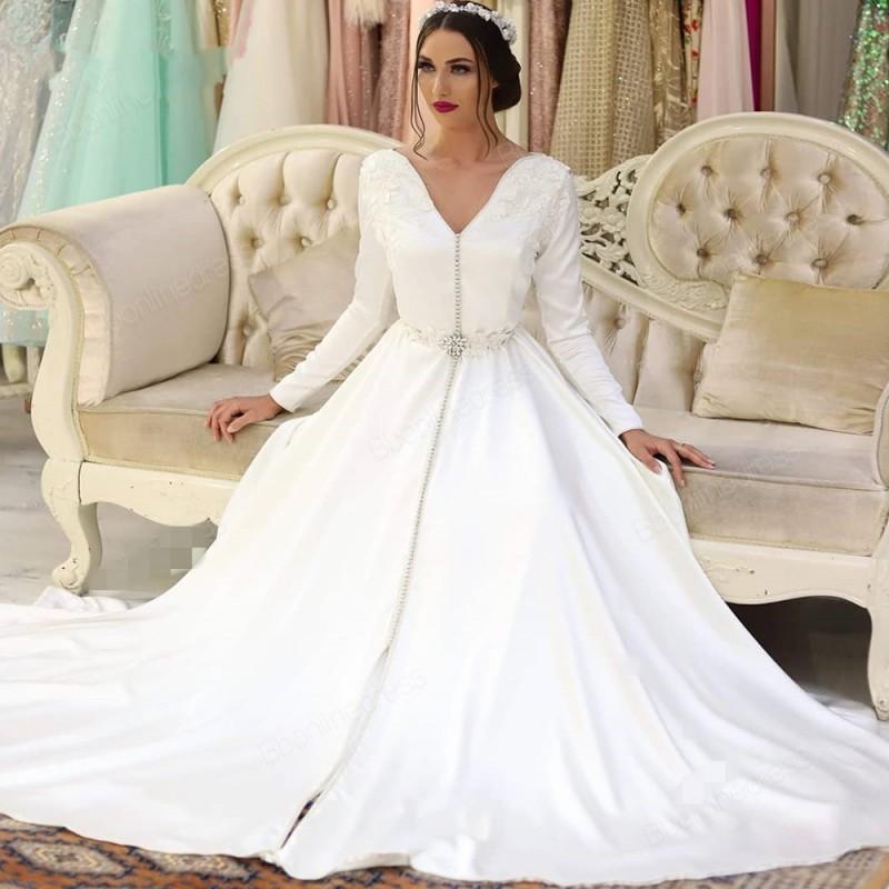 2020 Caftan marocain robes de soirée blanc Appliques longue Satin robe formelle à manches longues arabe musulman vestidos de noiva