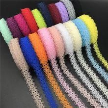 1M Latest Lace Embroidery Organza 1.5cm White Purple Green Ribbon Lace Fabric Sewing Accessories Guipure Multicolor encaje KQ11