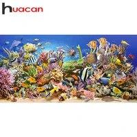 Huacan     peinture diamant theme poisson Animal  broderie 5D Kit de bricolage  point de croix  strass de mer  mosaique  decoration de la maison
