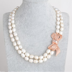 2 Strands Natural White Rice Pearl CZ Necklace