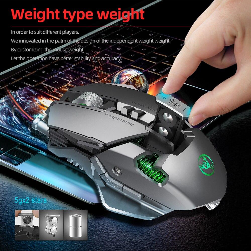 Новинка, механическая проводная мышь HXSJ с RGB подсветкой, 6400DPI, Регулируемая игровая мышь с 7 кнопками и макро разрешением, игровые аксессуары для ПК