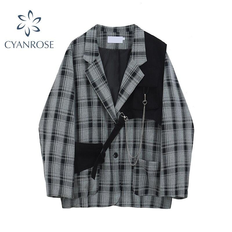2020 Autumn Korean Vintage Plaid Blazers Women Casual Oversized Female Suit Jackets Streetwear Ladies Outwear Fashion Clothes