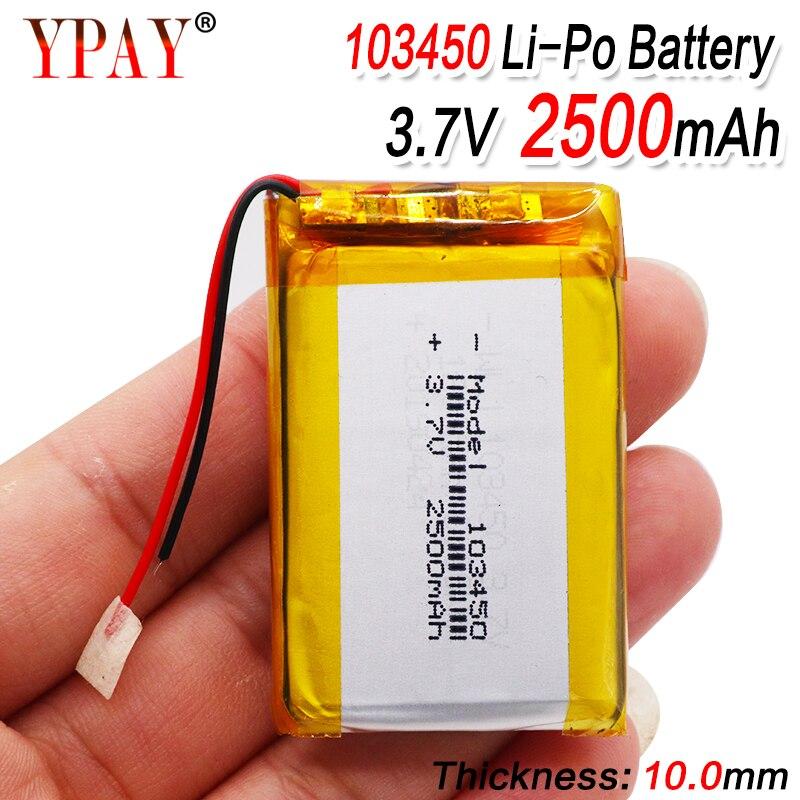 3,7 V 250mAh 103450 Lipo Lithium-Polymer-Akku Für GPS navigator MP5 GPS Bluetooth Lautsprecher headset e-book kamera