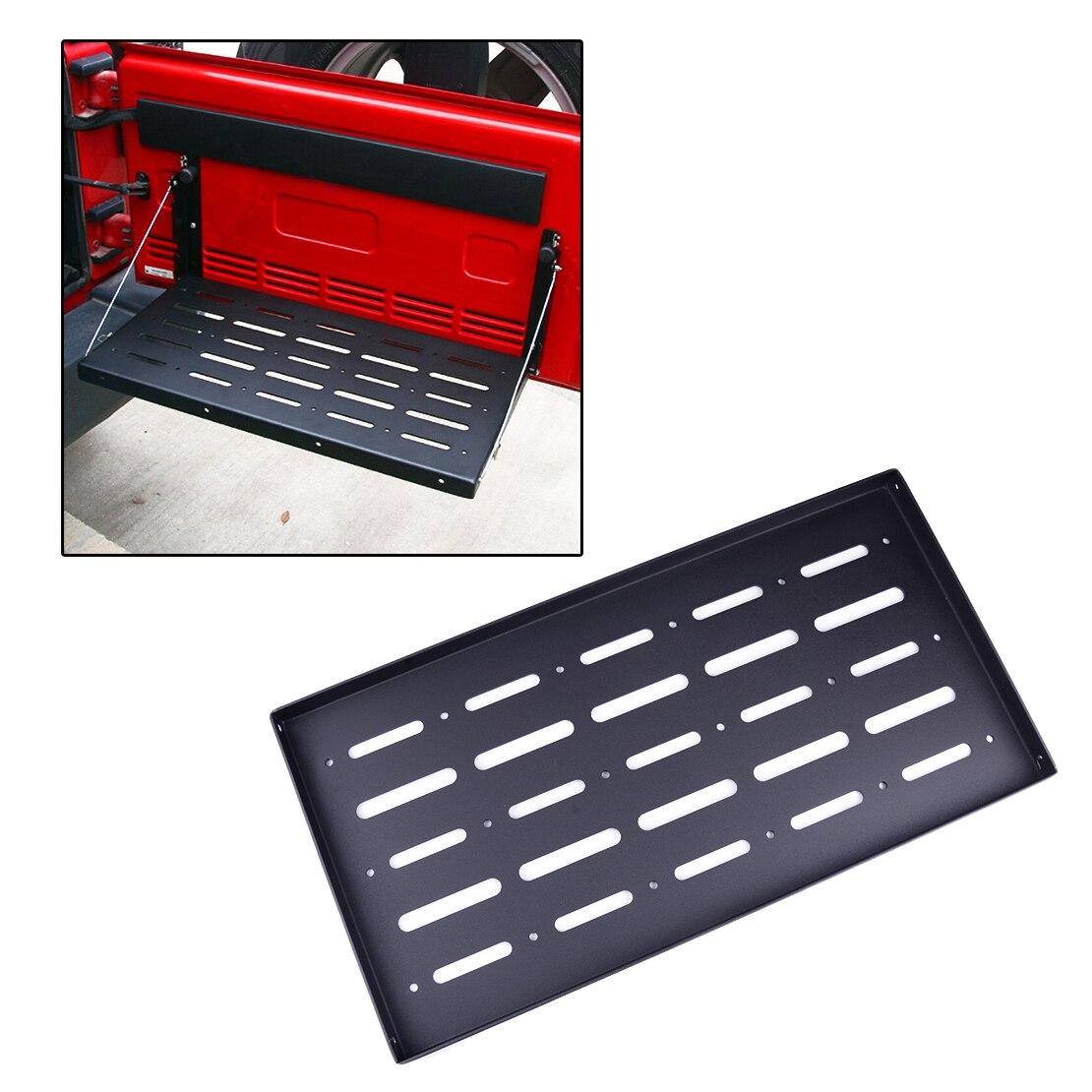Puerta trasera plegable, soporte de almacenamiento de carga, soporte de mesa, soporte de almacenamiento de Metal para Jeep Wrangler JK 2007-2015 2016 2017