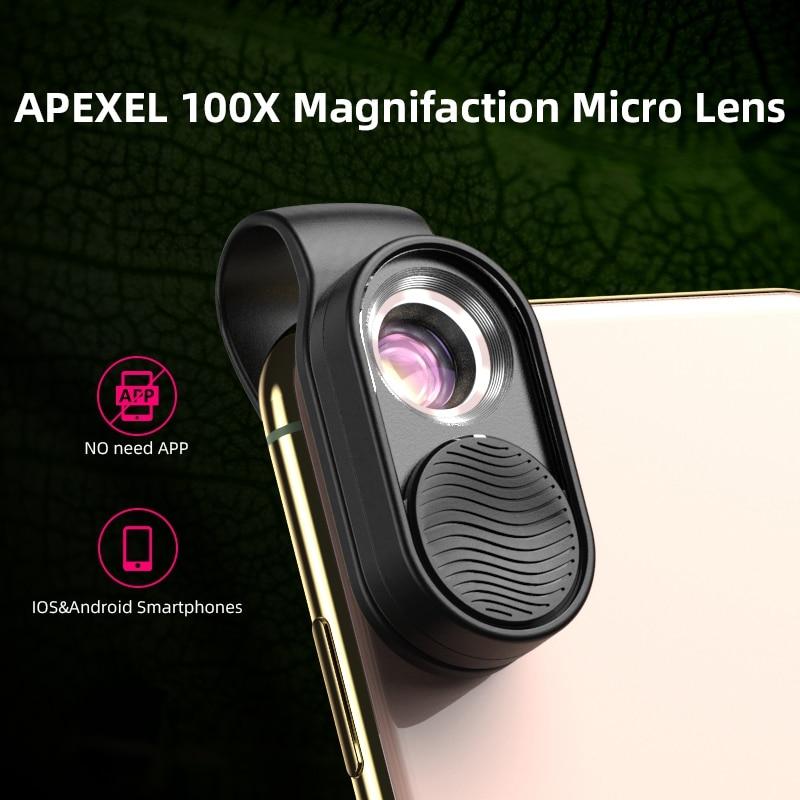 APEXEL100X-عدسات الهاتف الخلوي ، عدسة تكبير عالية ، ضوء LED ، عدسات جيب صغيرة لهاتف iPhone Samsung جميع الهواتف الذكية