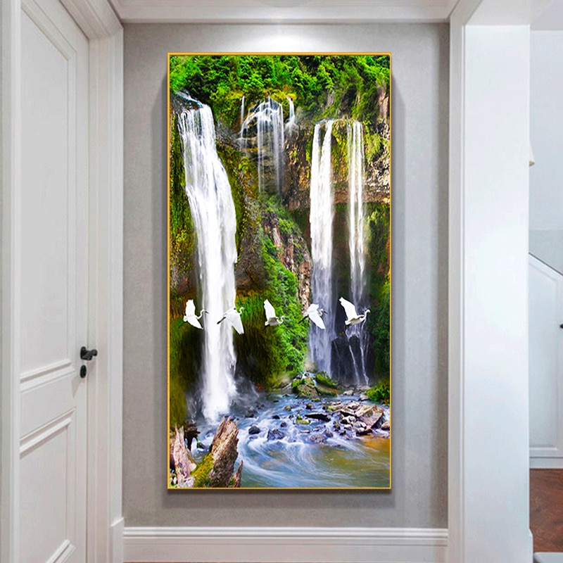 New Round Diamond Painting Waterfall scenery Diamond Embroidery Picture Cross stitch Home Decoration Handicrafts Holiday gift