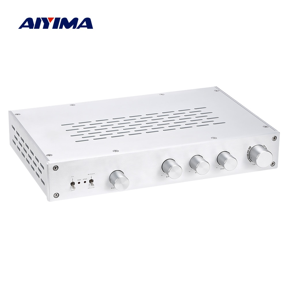 AIYIMA HiFi Clase A Amplificador de preamplificador triple bajo control de volumen medio independiente de tono preamplificador 4 vías entrada Home Theater