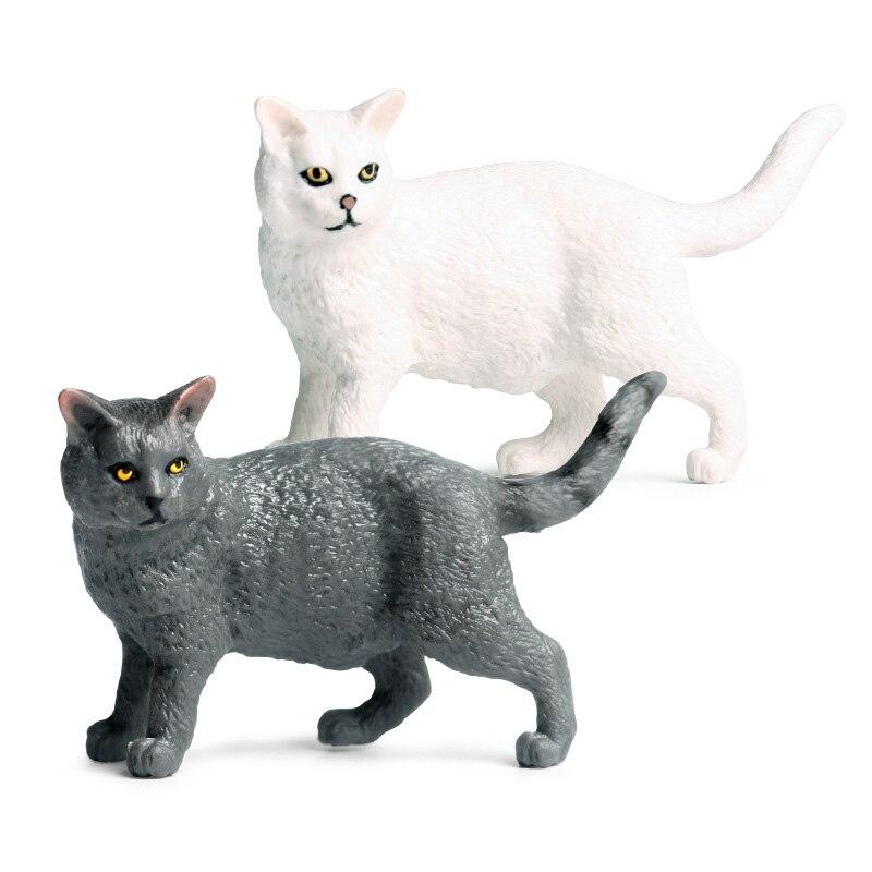 Modelo de gato gordo negro/blanco figura de acción Animal salvaje juguetes de PVC