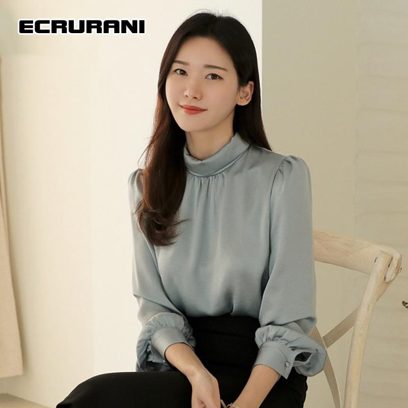 ECRURANI-طقم نسائي غير رسمي من قطعتين ، بلوزة بأكمام طويلة ورقبة دائرية ، خصر عالي ، تنورة سوداء صلبة ، موضة جديدة 2021