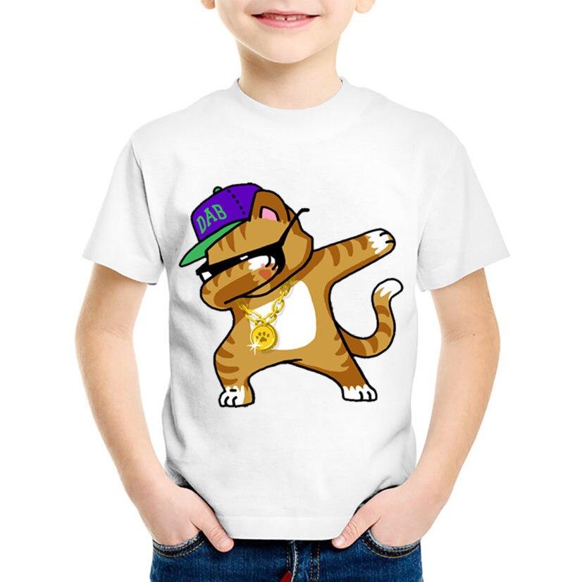 Футболка с мультяшным принтом для девочек, футболки с рисунком единорога, кролика, Забавная детская одежда, детские футболки с рисунком кош...