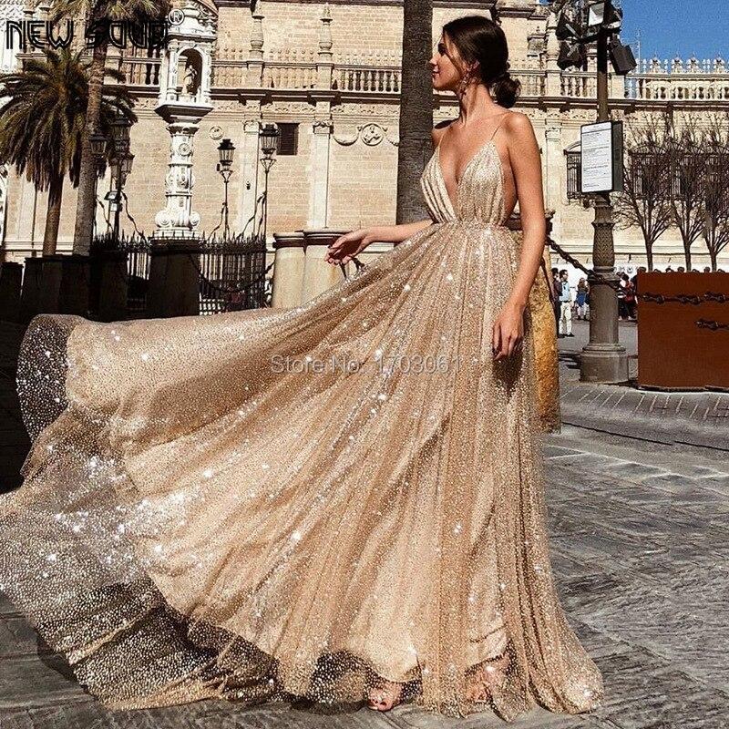 Cheap Glitter Evening Dress For Weddings 2020 Open Back A Line Prom Dresses Arabic Dubai Evening Gowns Turkish Kaftans Vestido