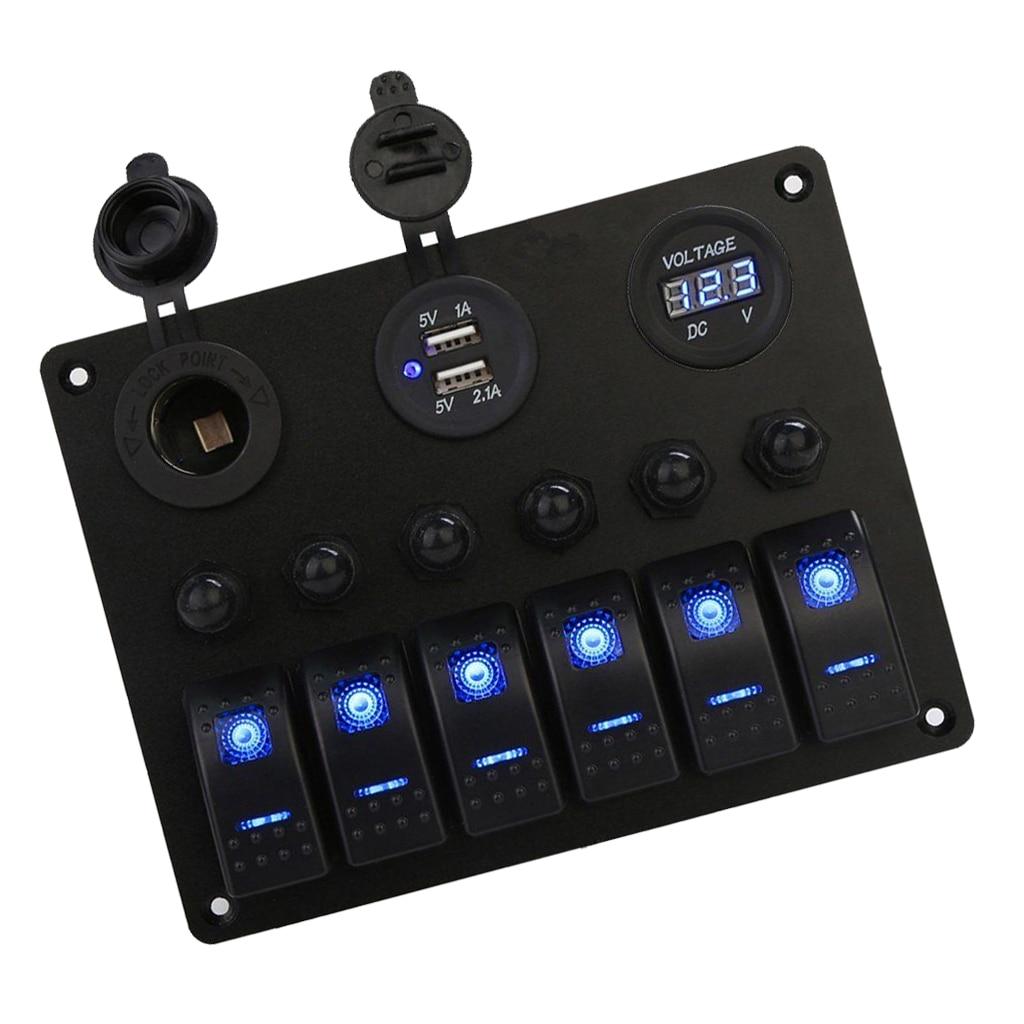 6 банд кулисный переключатель панель для RV Морской лодки, водонепроницаемый цифровой вольтметр и два USB порта