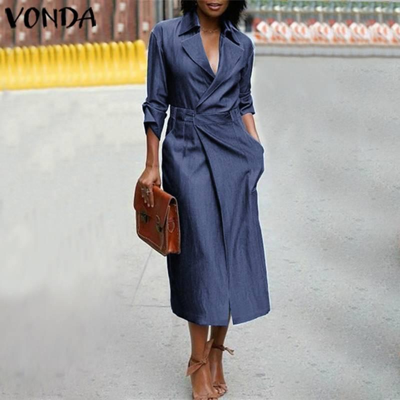 Женское джинсовое платье с v-образным вырезом, повседневный синий сарафан с коротким рукавом, вечерние платья VONDA, женское платье размера пл...