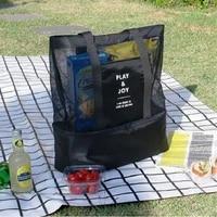 single shoulder insulation bag double layer picnic bag men and women sports mesh storage bag ice pack cooler bag