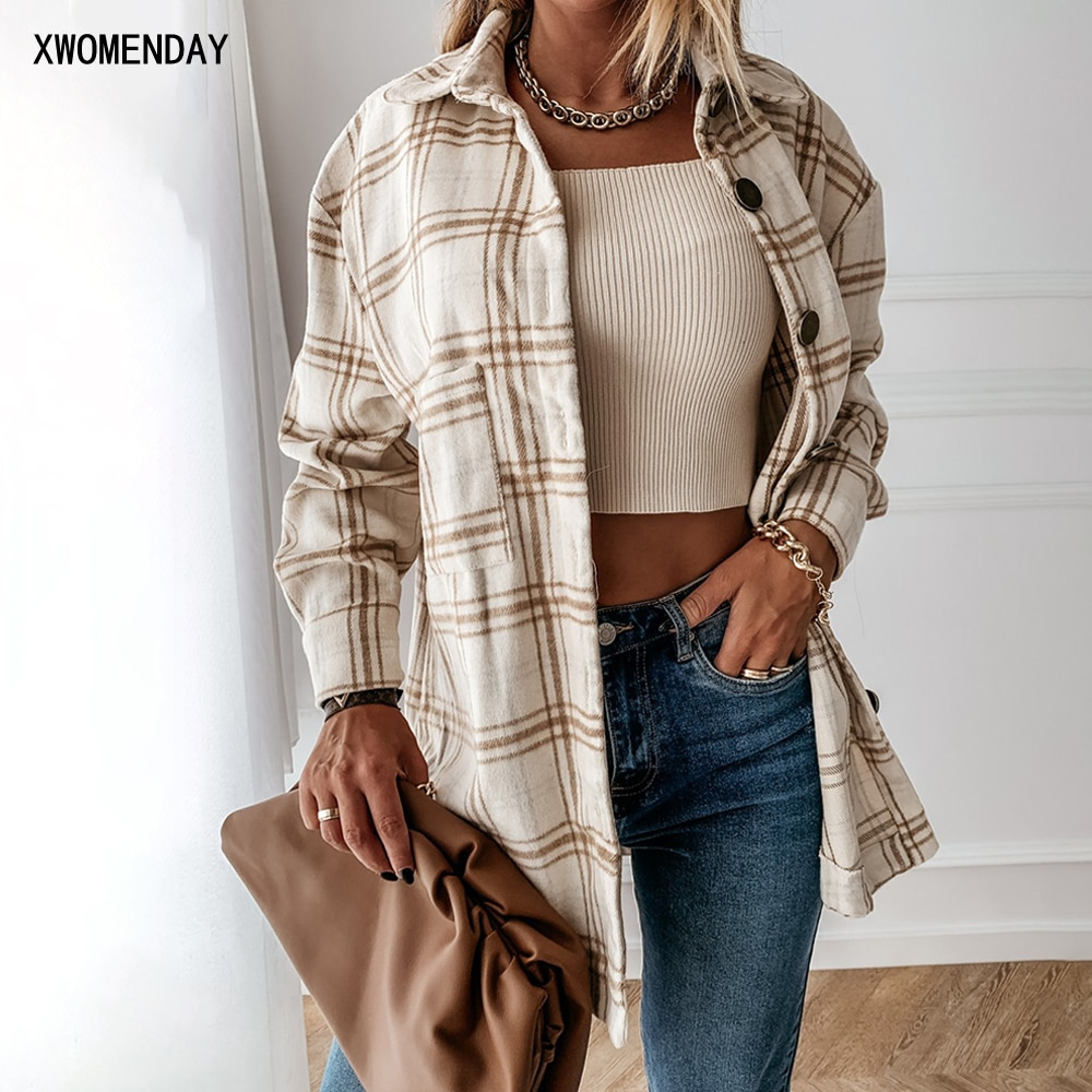 Autumn Spring Long Plaid Shirt Women Casual White Long Sleeve Pocket Button Up Collared Shirt Top Clothes Fashion New 2021 Fall