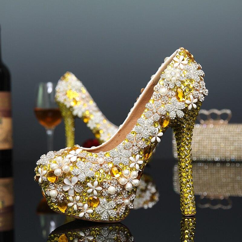 Zapatos de boda de diamantes de imitación para Banquete de flores doradas, zapatos de tacón alto para novia, zapatos de diamantes hechos a mano, talla grande 43