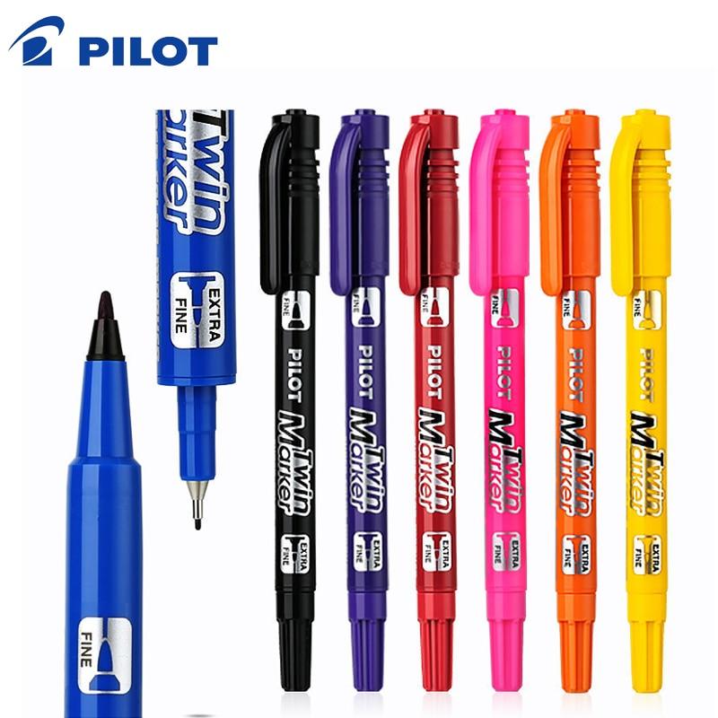1 pces piloto SCA-TM cd marcador twin marcador 2 dicas permanente colorido varejo duplo-cabeça caneta oleosa
