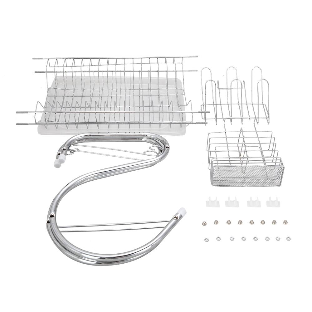 Купить с кэшбэком Multifunctional S-shaped Dual Layers Bowls & Dishes & Chopsticks & Spoons Collection Shelf Dish Drainer Plates Holder
