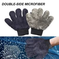 car wash mitt microfiber paw shaped wash glove double side non scratch thick cloth durable coral fleece cleaning washing gloves