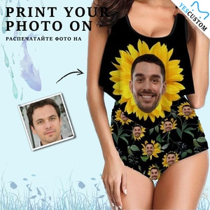 Custom Face Photo Yellow Sunflower Bathing Suit Women Ruffled Top High Waisted Beach Personalized Gift for Her Female Swimwear