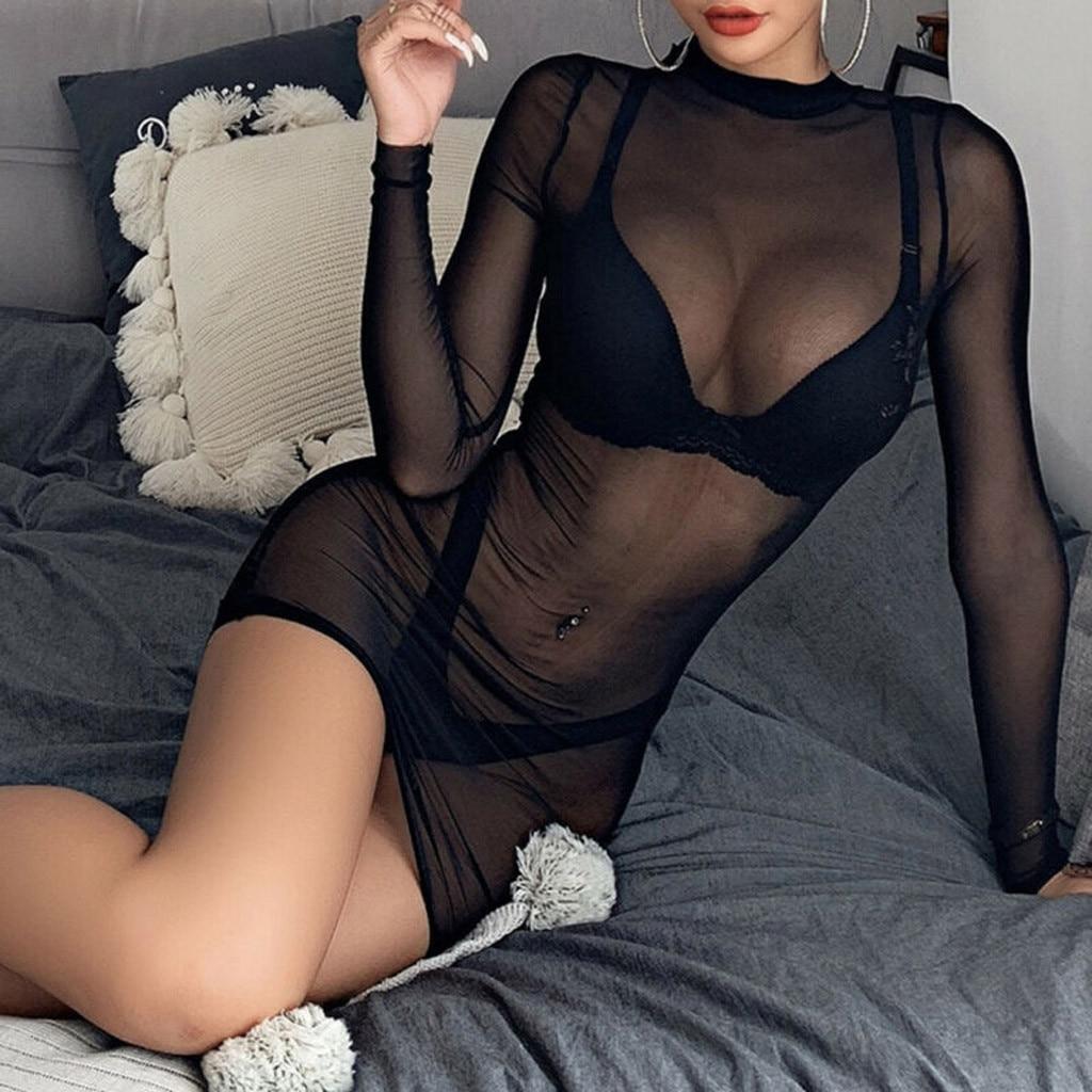 Women's Sheer Mesh See-Through Long Sleeve Crop Tops Casual Women High Quality Sleeveless Underwear 1.19