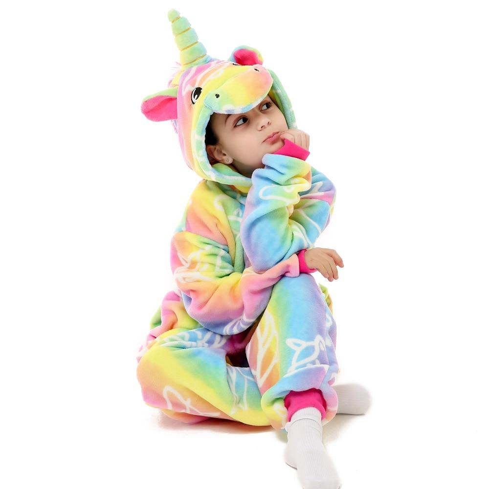 Kinder Pyjamas Kigurumi Flanell Mädchen Jungen Unisex Einhorn Schlafanzug Stich Totoro Cartoon Tier Pyjamas 4 6 8 10 12 jahr