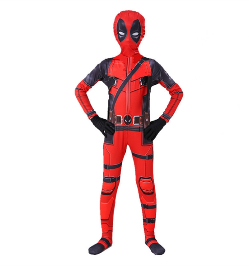 Fantasia de super herói para deadpool infantil, traje de combinação, fantasia de halloween para meninos e meninas      -