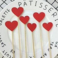 10 unids/lote hecho a mano encantador corazón Rosa Cupcake Toppers suministros de fiesta para pasteles cumpleaños boda fiesta Decoración