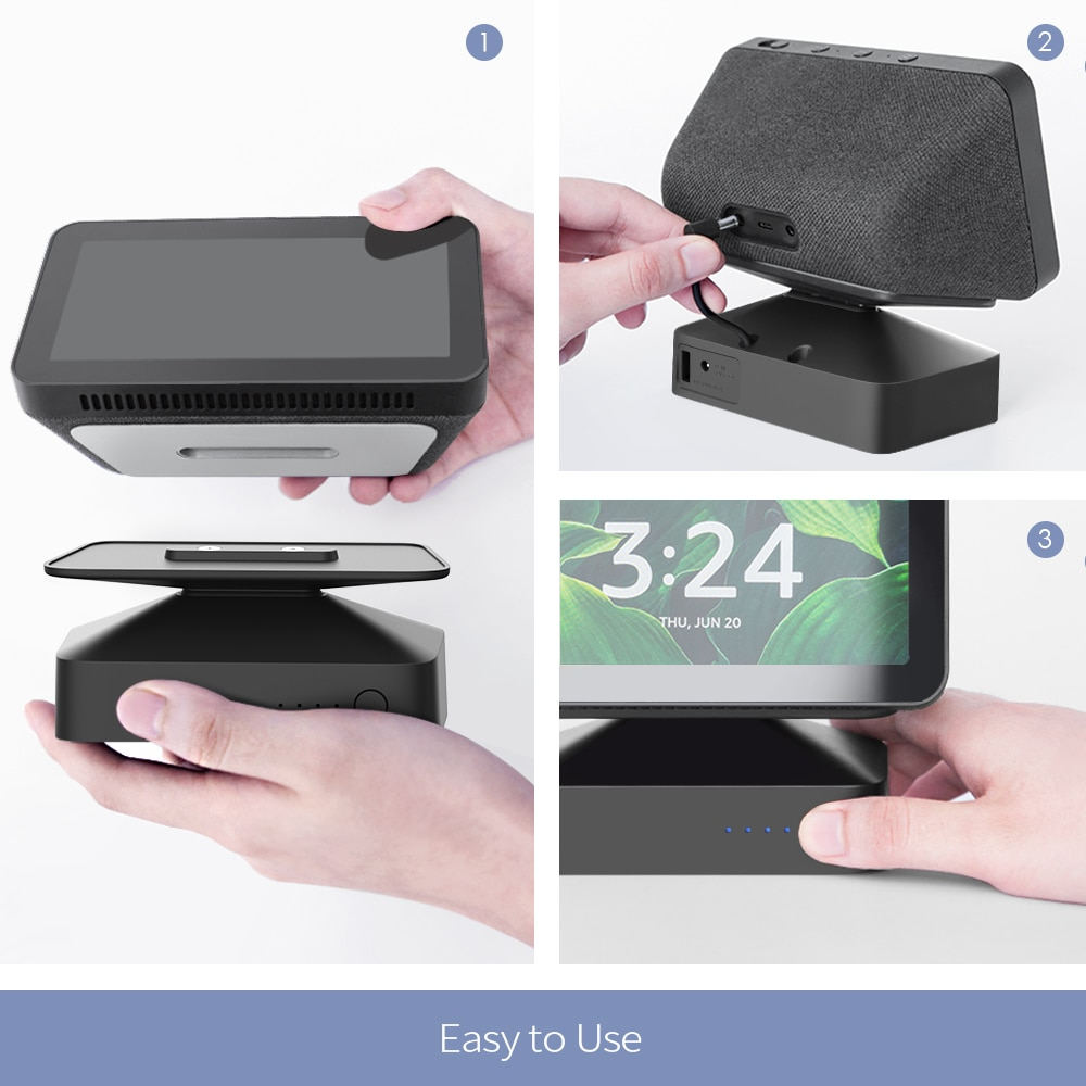 GGMM ES5 10000mAh Battery Base for Echo Show 5 Amazon Alexa Adjustable Mount Stand Portable Battery 9.5H Play for All-New Show 5 enlarge