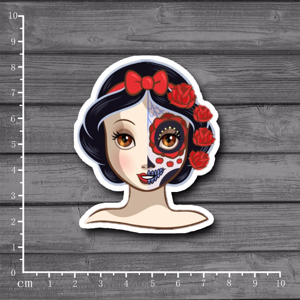 Punk Rose Skull Snow White Car Sticker Windshield Bumper Motorcycle Accessories Decal High Quality KK Vinyl Cover Scratches