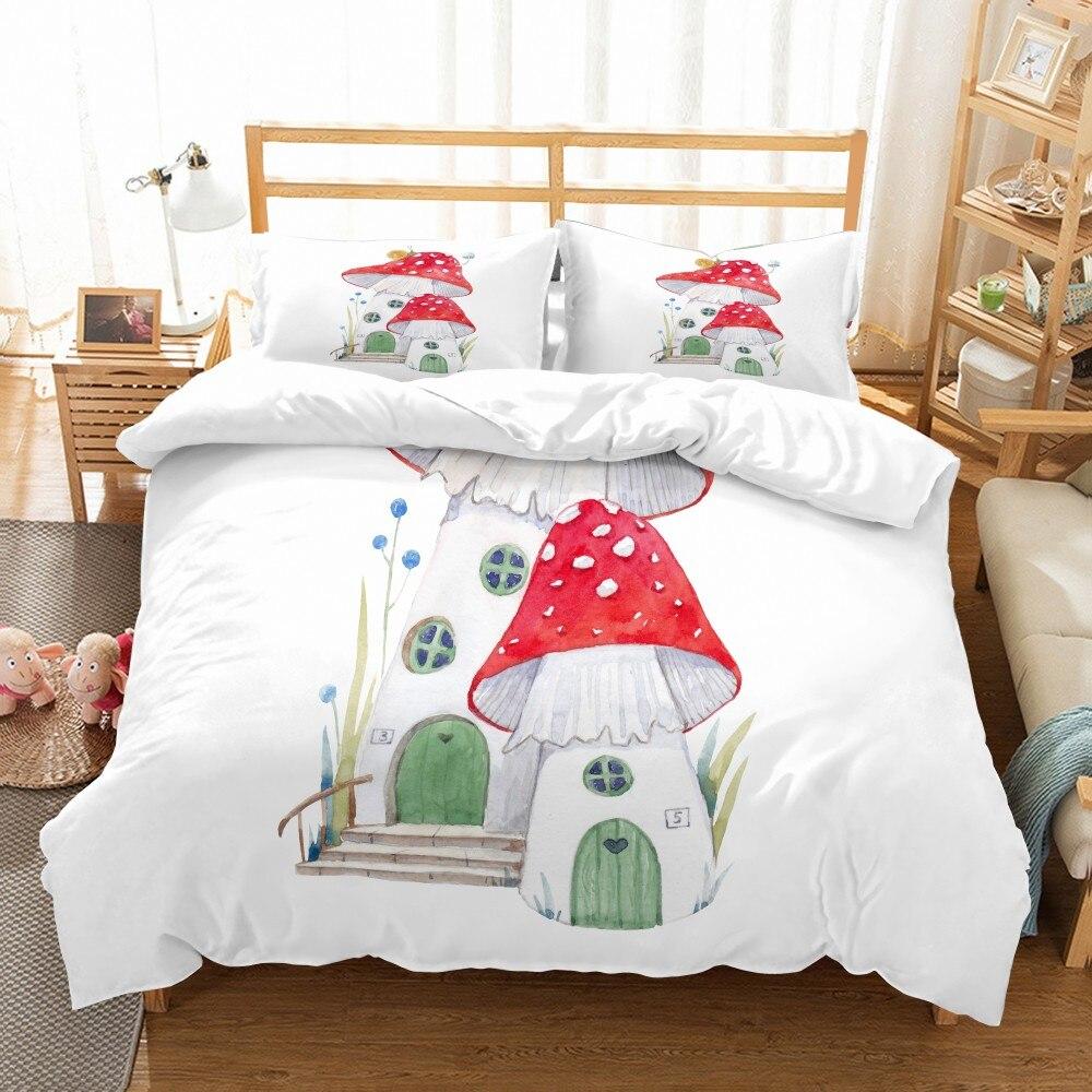 Juego de cama con estampado 3D de setas coloridas, juego de cama para niños con funda de edredón, cubrecamas de 2/3 Uds., funda de almohada doble de tamaño King Size